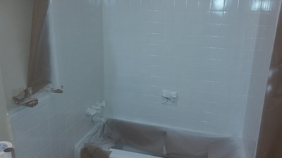 Tile Refinishing Dallas. The Homeowner Did Not Want The Bathtub Refinished,  Just The Tile Changed From Brown To White.