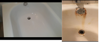Dallas Bathtub Services repaired the rusted bathtub and bonded a new surface. Making the bathtub look new again.