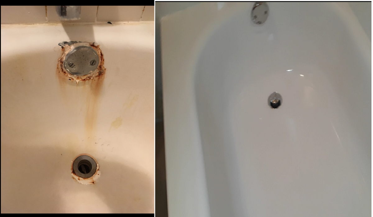 Dallas Bathtub Services restored the rusted bathtub and refinishing made the bathtub like new again.